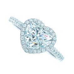 Tiffany Soleste® Heart engagement ring in platinum with diamonds. #TiffanyPinterest