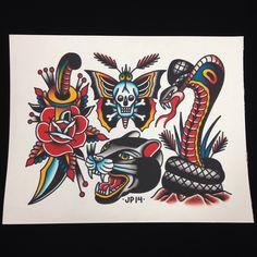 Jeffrey Pons as featured on www.swallowsndaggers.com #tattoo #tattoos #flash