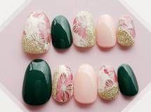 和柄ネイルチップ和花 桜×抹茶