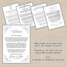 Hotel Welcome Bag Letters for Out of Town Guests by DesignsByDVB, $0.75