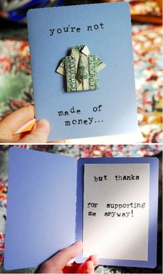 Thank you card using money