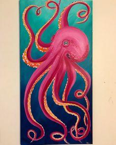 New Painting Acrylic Jellyfish Art Ideas Octopus Painting, Octopus Art, Diy Painting, Painting & Drawing, Cute Canvas Paintings, Simple Acrylic Paintings, Animal Paintings, Jellyfish Art, Jellyfish Drawing
