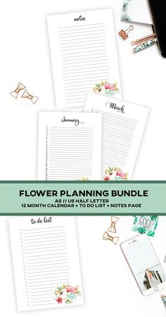 Get organized with this classy watercolor flower planner bundle! The bundle includes a notes page, to do list and monthly planner. Easy to print and easy to use! Monthly Planner, Printable Planner, Printables, Health Planner, Planner Inserts, Hole Punch, Adult Coloring Pages, Getting Organized, Etsy Seller