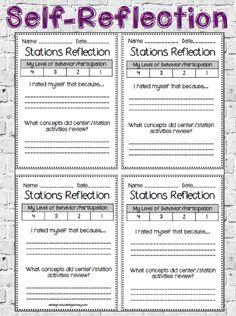 FREE self-reflection forms for work station management