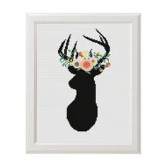 Deer Cross Stitch Deer Cross stitch pattern Floral Antler theme cross stitch Deer Sign Animal Wall Home Modern Decor Embroidery scheme