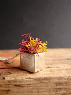 Red Moss Planter Fall Cube Necklace Sterling Silver Pendant Botanical Jewelry Novelty Pendant on Etsy, $60.00