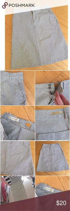 Anthropologie Pilcro skirt stripes Anthropologie Pilcro skirt. Worn once, pristine condition. Size 27. 2 front hip pockets, 2 back pockets. Zipper front and 2 buttons. Tiny stripes . Material similar to jeans skirt. Anthropologie Skirts Midi