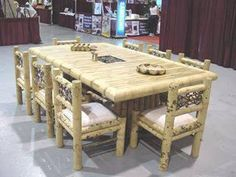 Brunei Table and Chair Dining Set. This beautiful dining furniture is perfect for indoors or outdoors. Natural Wood Furniture, Timber Furniture, Bamboo Furniture, Dining Furniture, Outdoor Furniture Sets, Dining Rooms, Furniture Design, Bamboo Table, Bamboo House
