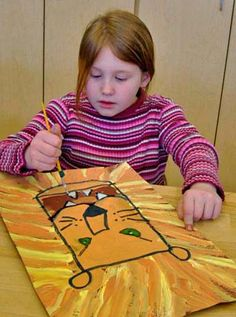 1st--- Elementary Art Painting Projects - Lion Paintings