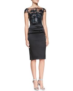 Illusion Sequined-Bodice Cocktail Dress by Talbot Runhof at Neiman Marcus...$2,495