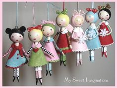 Red Friday Shop Update - My Sweet Imaginations -clothespin dolls Crafts To Make, Craft Projects, Crafts For Kids, Arts And Crafts, Craft Ideas, Red Friday, Clothespin Dolls, Clothespin Crafts, Toy Art