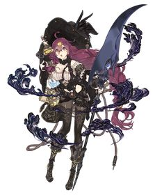 View an image titled 'Dorothy, Greedy Crow Paladin Job Art' in our SINoALICE art gallery featuring official character designs, concept art, and promo pictures. Female Character Design, Character Design References, Character Design Inspiration, Character Concept, Character Art, Concept Art, Fantasy Anime, Fantasy Art, Character Illustration