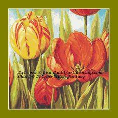 Una fantasia di punto croce presenta Tulipani contato Cross Stitch Pattern Digital Download  Opere darte originali con licenza del Lisa