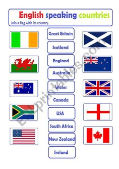 English Speaking Countries - join a flag to its country - ESL worksheet by blanoc Vocabulary Games, Grammar And Vocabulary, Vocabulary Worksheets, Writing Worksheets, Esl Lessons, English Lessons, English Grammar, Teaching English, Geography For Kids