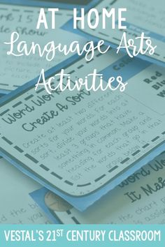 Are you looking for language arts activities for at-home learning or distance learning? This blog post includes lots of fun activities to help students practice reading, writing, and word work at home.  #vestals21stcenturyclassroom #languageartsactivities #funlanguageartsactivities #elementarylanguageartsactivities #handsonlanguageartsactivities #athomelearning #athomelearningactivitiesforkids #athomelearningactivities