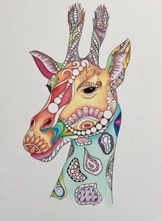 Zentangle giraffegiraffe artafrican artcolored by TheTranquilFrog Giraffe Colors, Giraffe Art, Giraffe Head, Cute Animal Drawings, Pencil Drawings, Art Drawings, Drawing Animals, 6th Grade Art, Unique Drawings