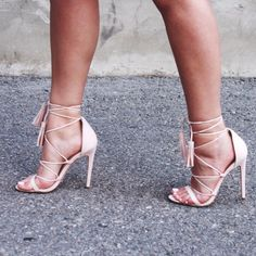 Lace up heels with tassels