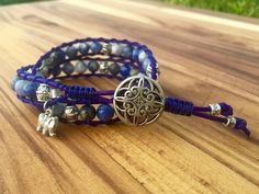 Marbled Blue Sodalite Double Wrap Bracelet, with Silver Elephant Charm @ bohoberry.com $27