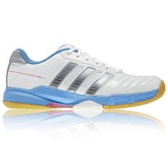 16e803785 Adidas Court Stabil 10 Women - White and Light Blue Squash Shoes