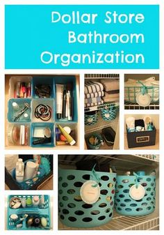 Great ideas from The Crazy Craft Lady using dollar store items for bath organization. Just in time for the big move, too. The more I can get that we need at the dollar store, the better. Diy Storage, Bathroom Storage, Storage Ideas, Small Bathroom, Bathroom Ideas, Storage Solutions, Girls Bathroom Organization, Basket Storage, Small Storage