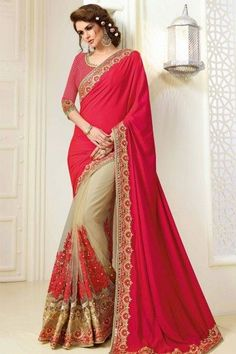 Bollywood Special - Bollywood Inspired - Party Wear Red & Beige Saree - 1563 - Products Details : Style : Bollywood Style Party Wear Saree / Festival Wear Saree / Half & Half Saree Saree Size :&n Latest Indian Saree, Indian Sarees Online, Buy Sarees Online, Lehenga Saree, Georgette Sarees, Bridal Lehenga, Net Saree, Georgette Fabric, Anarkali Suits