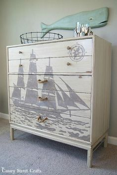 A painted ship silhouette and DIY rope pulls on a nautical dresser makeover - by Canary Street Crafts Paint Furniture, Furniture Projects, Furniture Makeover, Furniture Stores, Furniture Repair, Furniture Outlet, Garden Furniture, Bedroom Furniture, Furniture Design