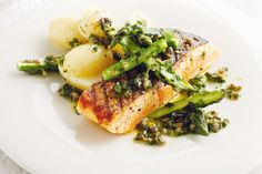 Serve this tasty char-grilled salmon with zesty asparagus and potatoes for a complete mid-week meal. Perfect with Bundaleer 2012 Stony Place Riesling Best Salmon Recipe, Salmon Recipes, Fish Recipes, Seafood Recipes, Xmas Recipes, Dinner Recipes, Salmon And Asparagus, How To Cook Asparagus, How To Cook Potatoes