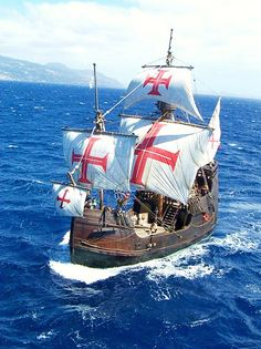 Ship replica: With the Santa Maria in Columbus 'wake - WORLD - When replicating the Santa Maria, great value was placed on the original – right down to the cros - Canoa Kayak, Bateau Pirate, Old Sailing Ships, Full Sail, Wooden Ship, Knights Templar, Model Ships, Tall Ships, Water Crafts