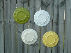Upcycled Glass Wall Hanging Plates in White Cream by Erindee, $40.00