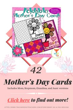 This collection contains 21 Pre-Colored and 21 Black and white Foldable Mother's Day Cards in PDF format. Includes separate Mom, Stepmom, Grandma, and Aunt versions to suit various mother figures! Mothers Day Cards, Happy Mothers, Morhers Day, Fox Design, Morning Work, Aunt, How To Find Out, Teacher, Clip Art