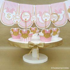 wrappers-para-cupcakes minnie mouse dorado y rosa