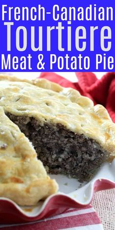 French Meat Pie, also called Tourtiere, is a classic French-Canadian dish that combines potatoes, onions, and spices, all enveloped in a buttery pie crust. Tourtiere is often served at the holidays and specifically Canadian Thanksgiving where it is served in smaller slices alongside the Turkey and trimmings. #French Canadian Tourtiere #Thanksgiving #Meat pie recipe #Kitchen Dreaming