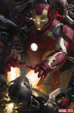 Concept art of Iron Man in Marvel's Avengers: Age of Ultron by Ryan Meinerding