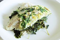 Grilled Fish with Baby Kale