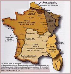 La France de 1940 à 1944    Carte des zones d'occupation. La limite traverse la franche-Comté
