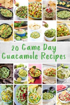 20 Game Day Guacamole Recipes - gear up for the Big Game with 20 delicious guacamole recipes! Homemade Guacamole, Guacamole Recipe, Healthy Appetizers, Healthy Snacks, Real Food Recipes, Great Recipes, Mango Guacamole, Grilled Avocado, Healthy Snack Options