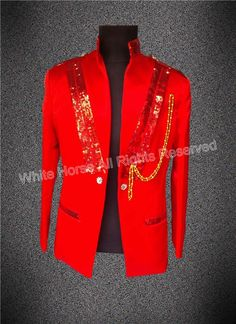 2017 New Arrival Fashions Red Bomber Jacket Men White Mens Costume Gilet Homme Cheap Men Stage Jacket Custom Made #Affiliate