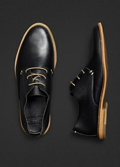 HE by Mango black leather uppers with wood sole