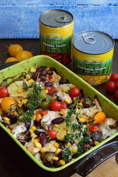 Piept de pui cu legume, la cuptor - CAIETUL CU RETETE Yami Yami, Pesto, Cantaloupe, Clean Eating, Food And Drink, Gluten Free, Chicken, Recipes, Salads