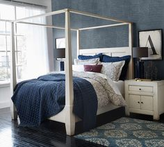 Like the wall covering - looks like shagreen Bed Weather, Wood Canopy Bed, Apartment Painting, Master Bedroom, Bedroom Decor, Couple Bedroom, First Apartment, Key Lime, Simply Beautiful