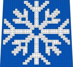 This snowflake has 8 points, and displays a more open view Lego Christmas Ornaments, Diy Christmas Snowflakes, Christmas Mosaics, Lego Faces, Lego Winter, Lego Challenge, Lego Wall, Brick Art, Lego Club