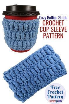 This pattern provides instructions using two yarn weights and can be used from both sides of the fabric. V Stitch Crochet, Crochet Mitts, Crochet Socks Pattern, Crochet Coffee Cozy, Free Crochet, Mug Cozy Pattern, Free Pattern, Quick Crochet Gifts, Cup Cozies