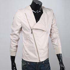$18.59 - Mens Black Leather Jacket Mens 2014 Inclined Slant Zipper Placket PU Leather Slim Fit Jackets Discount Online Shopping