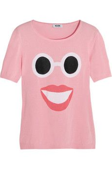 Moschino Cheap and Chic face-intarsia cotton top
