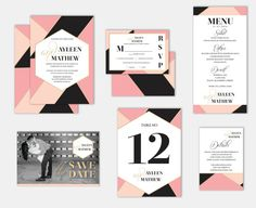 Geometric Modern Abstract Wedding Invitation Pink by rydesigned