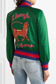 Gucci - Appliquéd Satin-jersey Bomber Jacket - Green - xx small