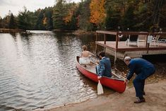 Bride and groom set out in a canoe to paddle to the island in the middle of this awesome private lake in Upstate NY in the Adirondacks. Canoeing elopement upstate NY. Adirondack Park, Adirondack Mountains, Upstate New York, Lake George, Outdoor Weddings, Canoeing, New York Wedding, Elopements, New Hampshire