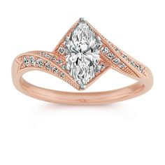 Thirty-two round diamonds, at approximately .27 carat total weight, have been hand-matched for superior brilliance in this sweet and stunning vintage-inspired ring. Crafted of quality 14 karat rose gold with milgrain detailing, the geometric design measures 10.5mm wide at the center and 2mm wide at the band. Simply choose the center gemstone of your choice at approximately .75 carat and create a ring she will never forget.
