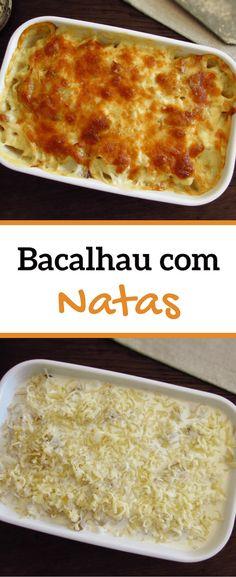Bacalhau com natas Cod Dishes, Fish Dishes, Portuguese Cod Recipe, Portuguese Food, Apple Recipes, Great Recipes, Favorite Recipes, Cod Fish Recipes, Seafood Recipes