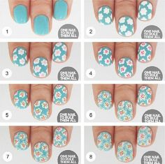 Floral Nail Art Tutorial for Spring - 16 Springtacular Nail Art Tutorials You Can Totally DIY | GleamItUp
